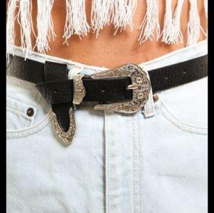 Black faux leather Western buckle belt